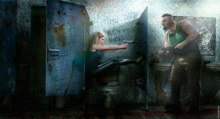Alison Haislip & Dave Cox - Jane Bond Series || © Elevendy Inc. 2012 #celebrity #bathroom #bond #photoshop #photography #style