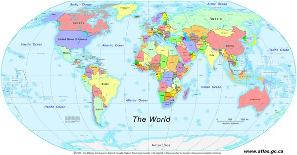 The World – Countries - This political map of the World shows national boundaries, country names, and major ocean features.