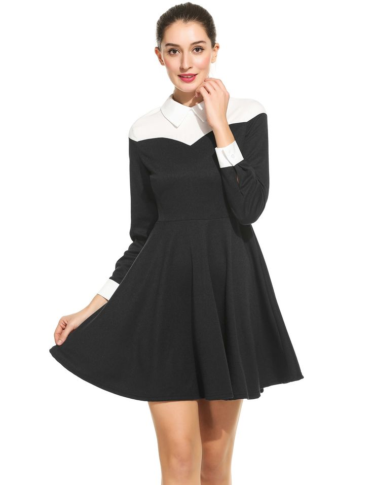 Red Women Casual Doll Collar Long Sleeve Contrast Color Patchwork A-Line Short Shirt Dress