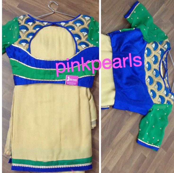 Cream saree with pattern blouse