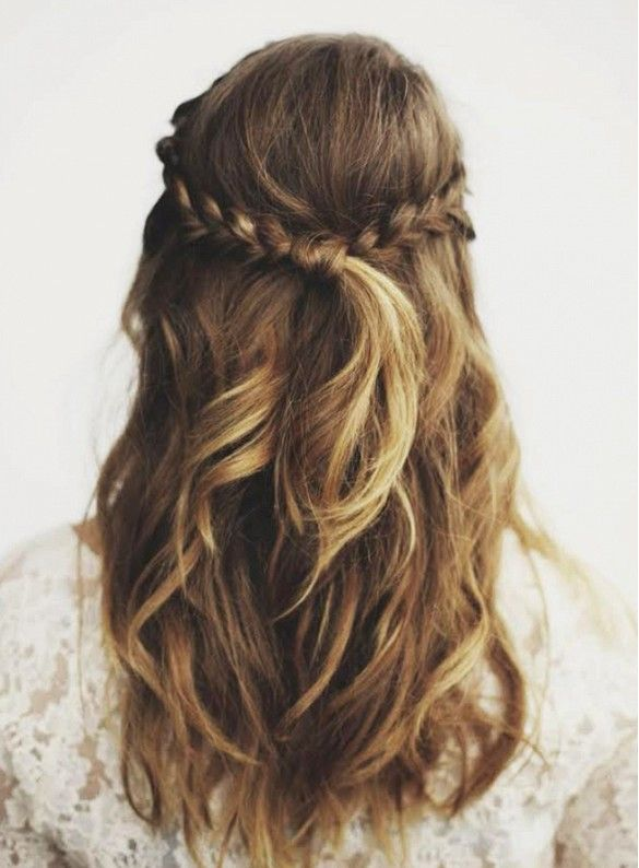 braid a piece from each side of your head, stop where they meet in the back, and tie them together