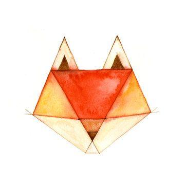 Geometric Animals Fox Print by CatherineLazarOdell on Etsy