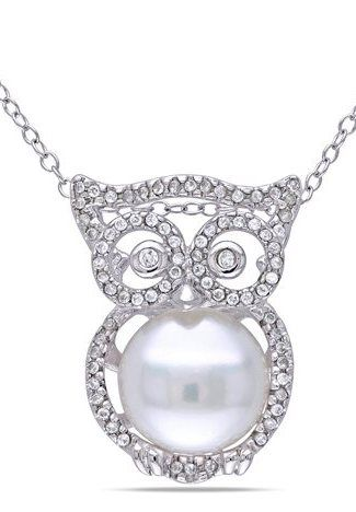 Sterling Silver Freshwater Cultured Pearl And Cubic Zirconia Owl Pendant