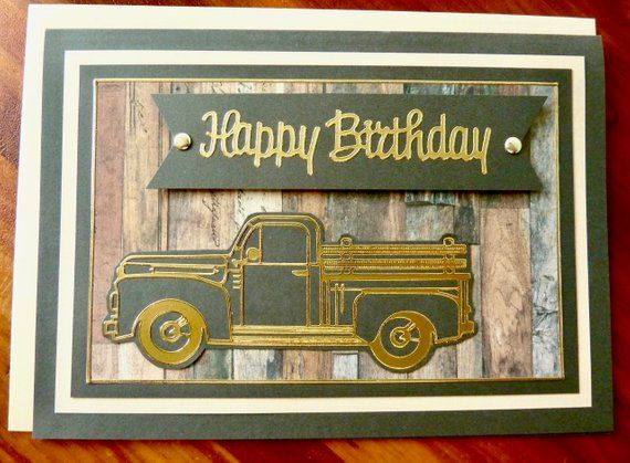 Masculine Birthday Card Handmade 5x7 Birthday Card Pick Up Truck