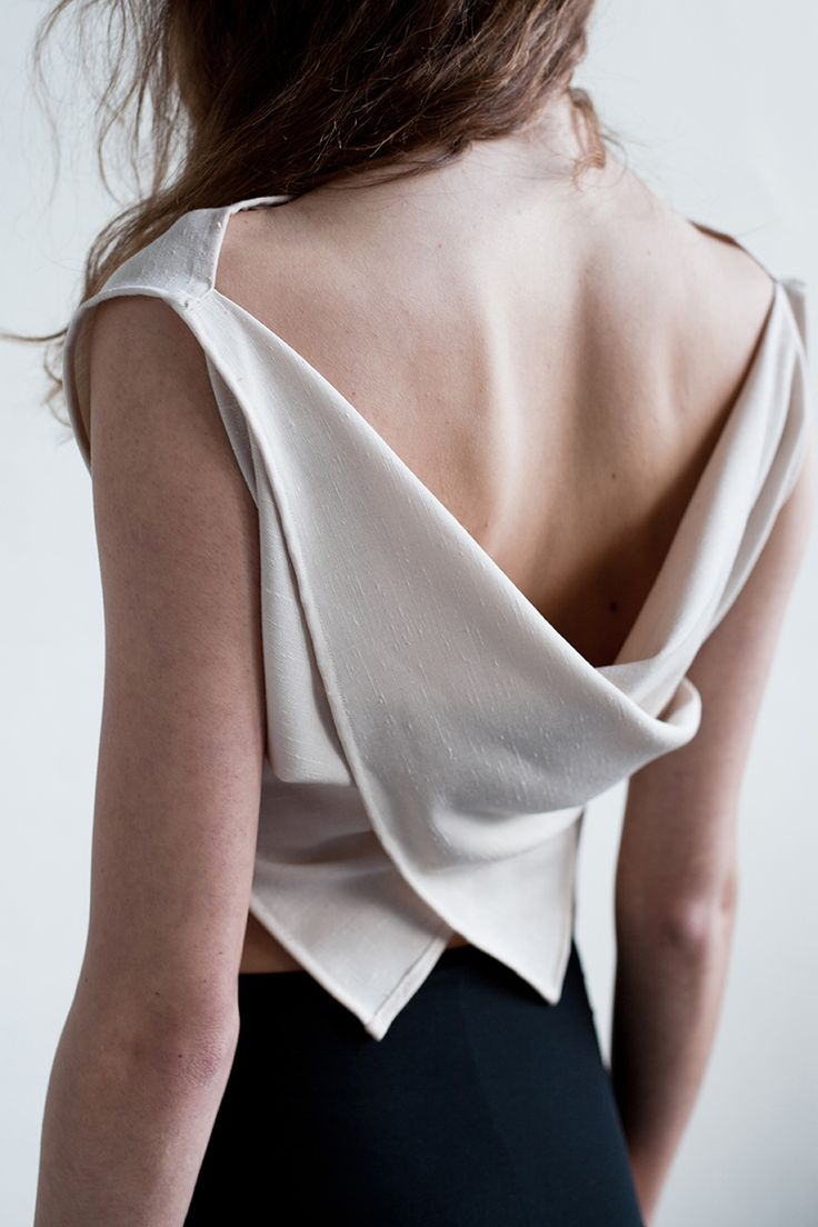 Elegant draped top with soft folds; contemporary fashion details // That Brand