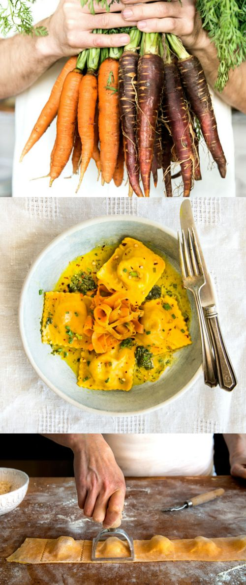 "Root-to-Greens Carrot Ravioli with Vadouvan Butter | This brilliantly colored ravioli takes ""homemade"" to the next level, using every part of the veggie, from the carrot-tinged dough to carrot top pesto."
