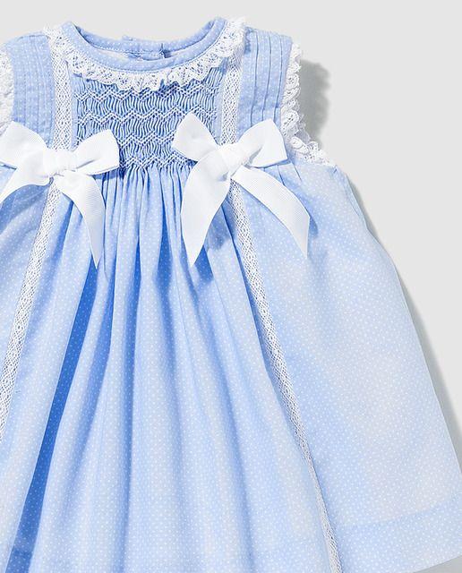 Vestido de bebé niña Dulces en azul con puntilla