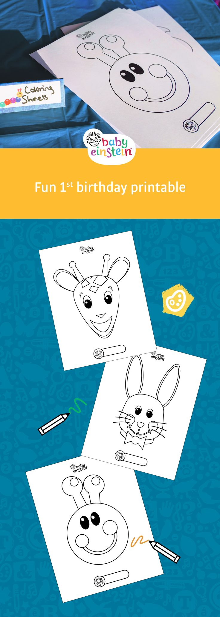 Keep little hands busy at a birthday party with our Baby Einstein coloring sheets! Get printables now!