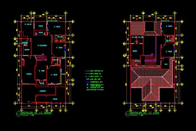 Intalasi Air Conditioner Atau Ac File Dwg Pendingin Udara Kondisioner Autocad