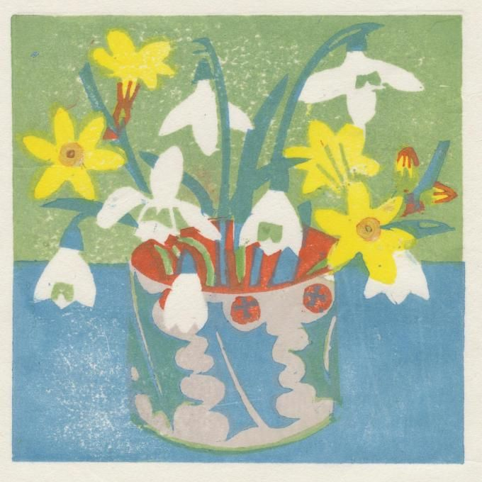Snowdrops and winter jasmine, woodblock print, Matt Underwood