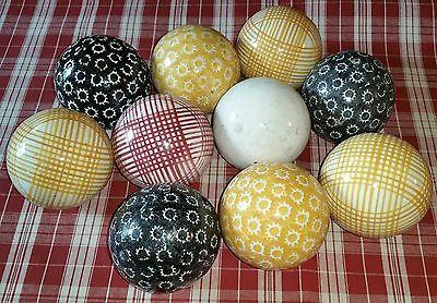 "10 Antique Scottish English Victorian Carpet Balls Red Yellow Black White 3-3/8"""