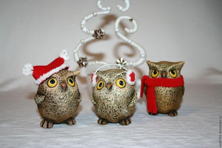 Купить Совята на прогулке - комбинированный, коричневый, зима, совы, совята, игрушка, Новый Год, малыш