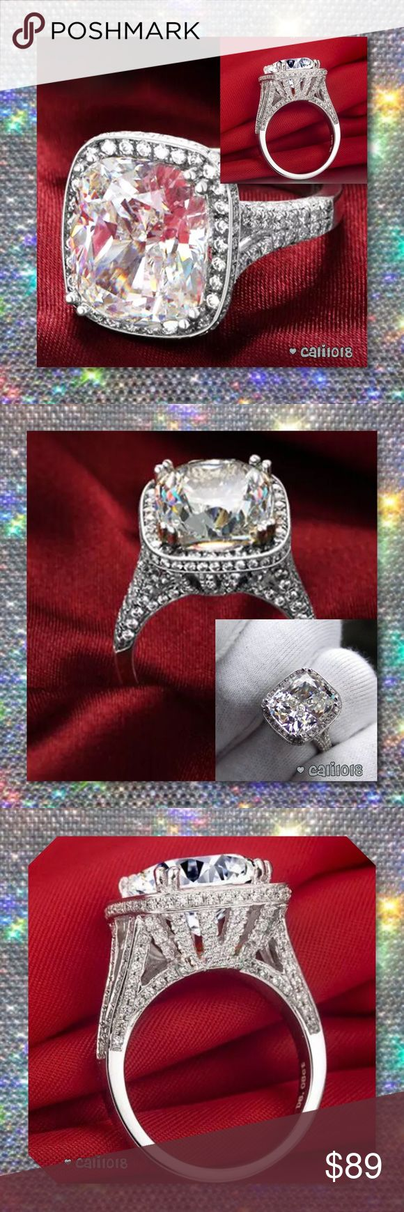 JUST IN🆕 5cts Plus Stunning Split Shank 925 Ring This bold engagement ring features a pave white sapphire encrusted, cushion-shaped halo and a slight split in the band which accentuates the center stone. Very large statement ring.  Stone shape: Radiant Stone weight: Over 5cts Style: Halo split shank Size Avail: 10 Stone Type: White Sapphire Metal: 925 Silver   💠💠PRICE FIRM UNLESS BUNDLED💠💠 ⭐️⭐️LOWBALL AND TRADE OFFERS WILL BE IGNORED (SORRY)⭐️⭐️ Glam Squad 2 You Jewelry Rings