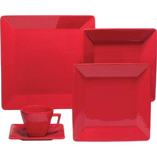 Aparelho de Jantar 20 peças Porcelana Vermelho - Oxford Porcelanas - Submarino.com