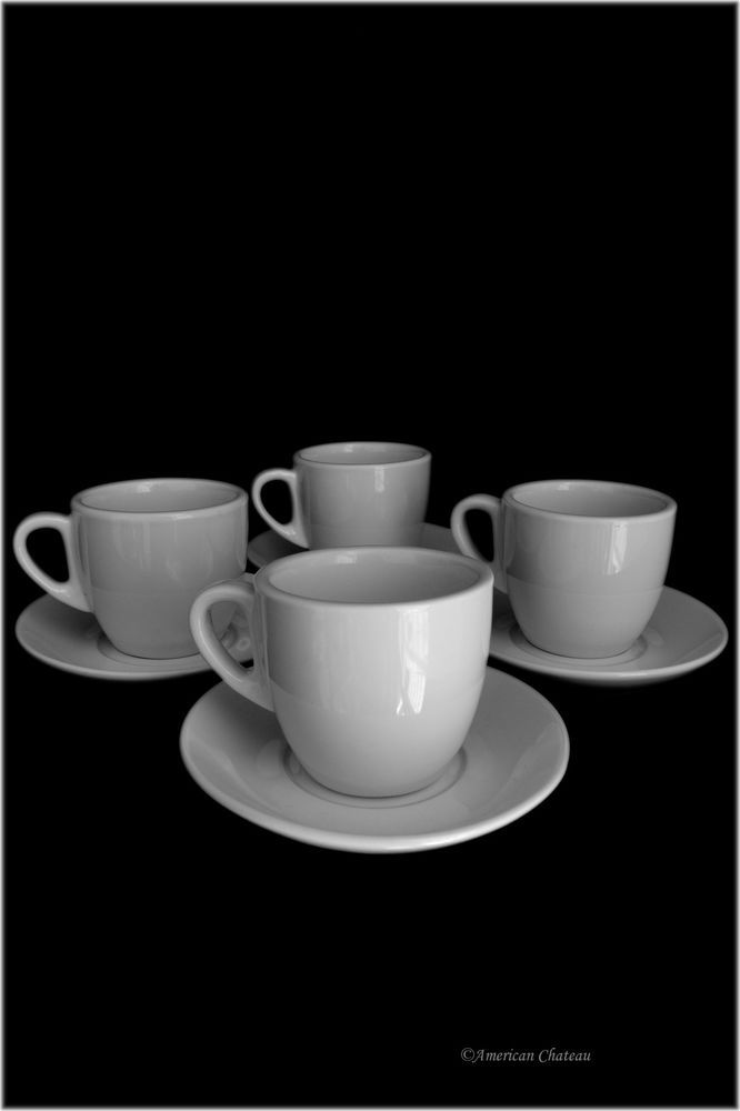 European Cafe Set 4 White Porcelain 8oz Coffee Latte Cappuccino Cups w/ Saucers #AmericanChateau