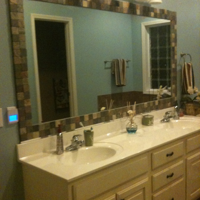 Tiled Framed Bathroom Mirrors. Tile-Framed Bathroom Mirror Tiled ...
