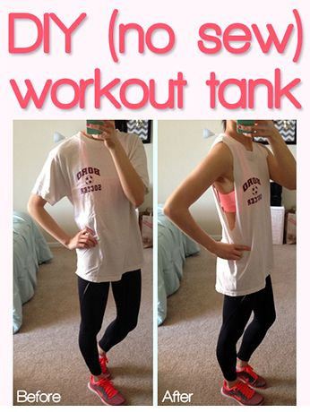 DIY cute/sexy workout tank; no sew!    Super quick & easy way to cut up an old t-shirt and show a pop of color from your bright/neon sports bra.    Materials: t-shirt & scissors, only!