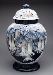 Designed by Effie Hegermann-Lindencrone Danish, 1860-1945 Manufactured by Bing & Grøndahl Porcelain Manufactory Copenhagen, Denmark, Covered Vase
