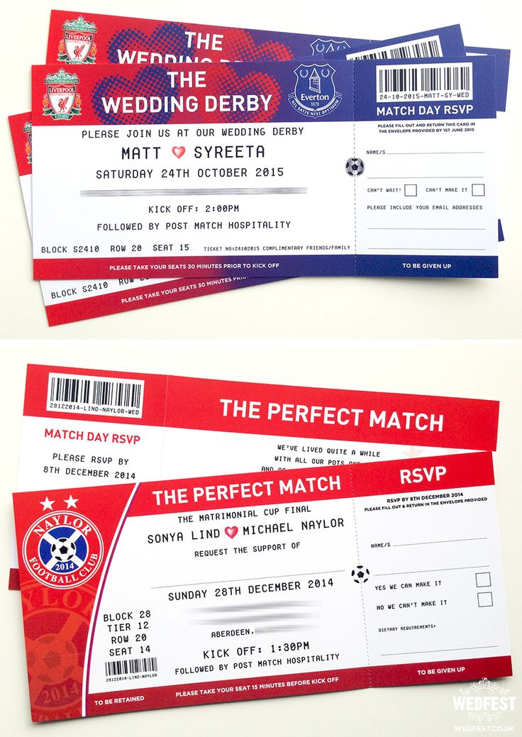 football ticket wedding invites - wedfest - http://www.wedfest.co/why-choose-themed-wedding-stationery/