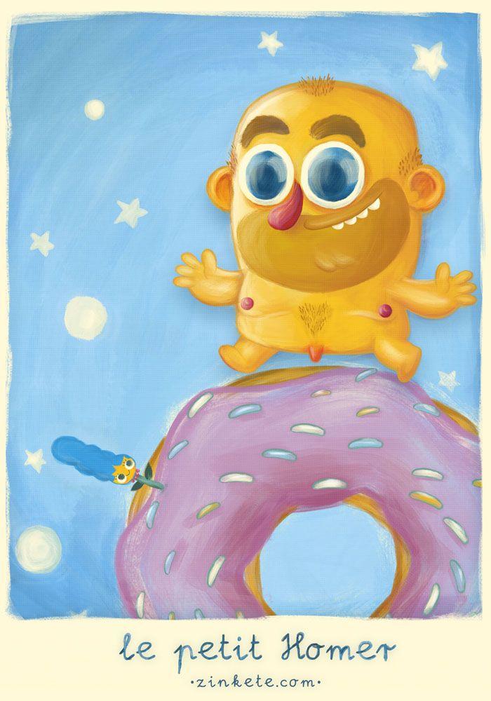 """http://www.zinkete.com/2013/04/draw-homer-le-petit-homer.html  """"El Homercito vivía en un planeta con forma de rosquilla, enamorado de una preciosa rosa azul"""""""