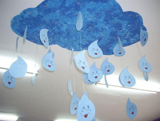 Movil gotas de lluvia con cartulina