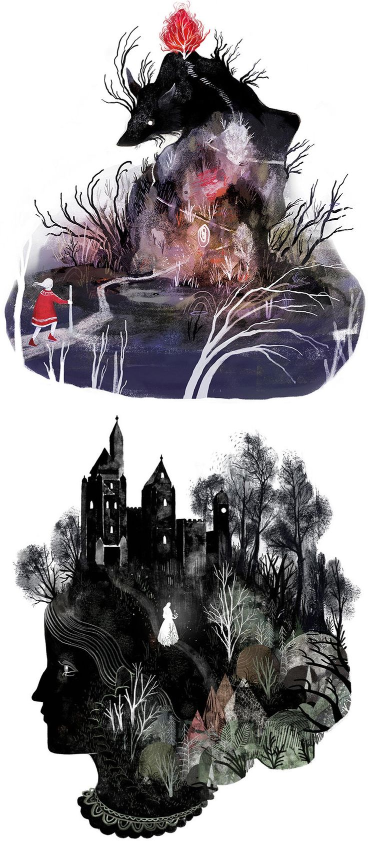 Surreal illustrations by Julia Iredale // ink drawing // narrative illustration