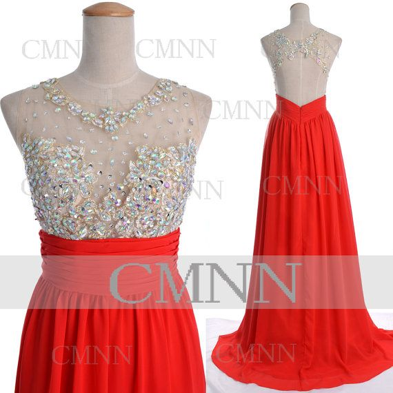 Red Prom Dresses, 2014 Red Prom Gown, Straps with Opne Back Long Chiffon Red Formal Dresses, Wedding Party Dresses, Red Formal Gown on Etsy, $169.00