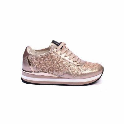 Crime London Sneakers Δερμάτινο με Παγιέτες σε Χρυσό Nude