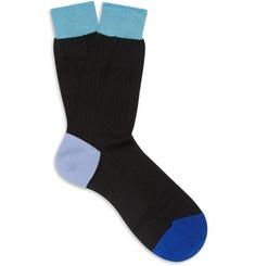 Contrast-Panel Merino Wool-Blend Socks