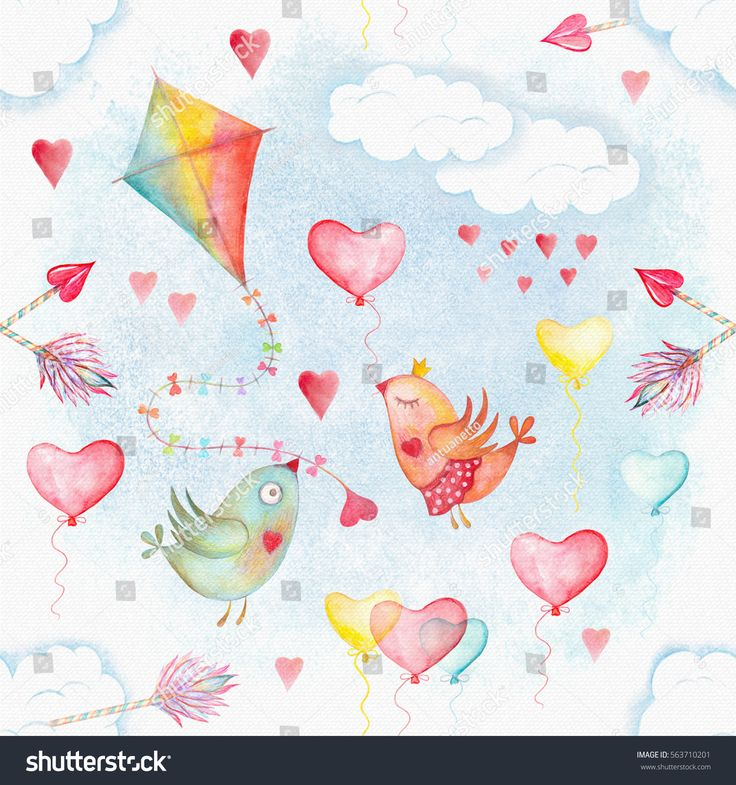 Watercolor seamless pattern with flying kite in rainbow colors, cupid arrows and Valentine's Day bird couple amur, arrow, backdrop, background, balloon, banner, bird, card, cartoon, celebration, character, color, colorful, couple, cupid, cute, day, decoration, drawing, drawn, fabric, flying, gift, hand, hand-painted, happy, heart, holiday, illustration, kite, love, ornament, paper, pattern, print, repeat, seamless, symbol, textile, texture, tile, valentine, wallpaper, watercolor, white…