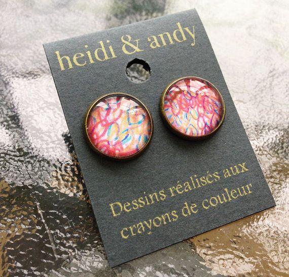 NEWHand DrawnBrass Stud EarringsEarring by HeidietAndyShop on Etsy, $18.00