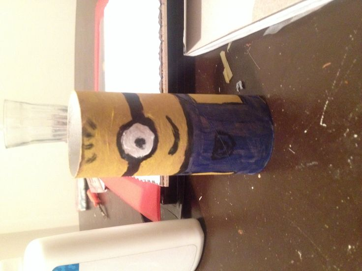 Minion made from a toilet roll