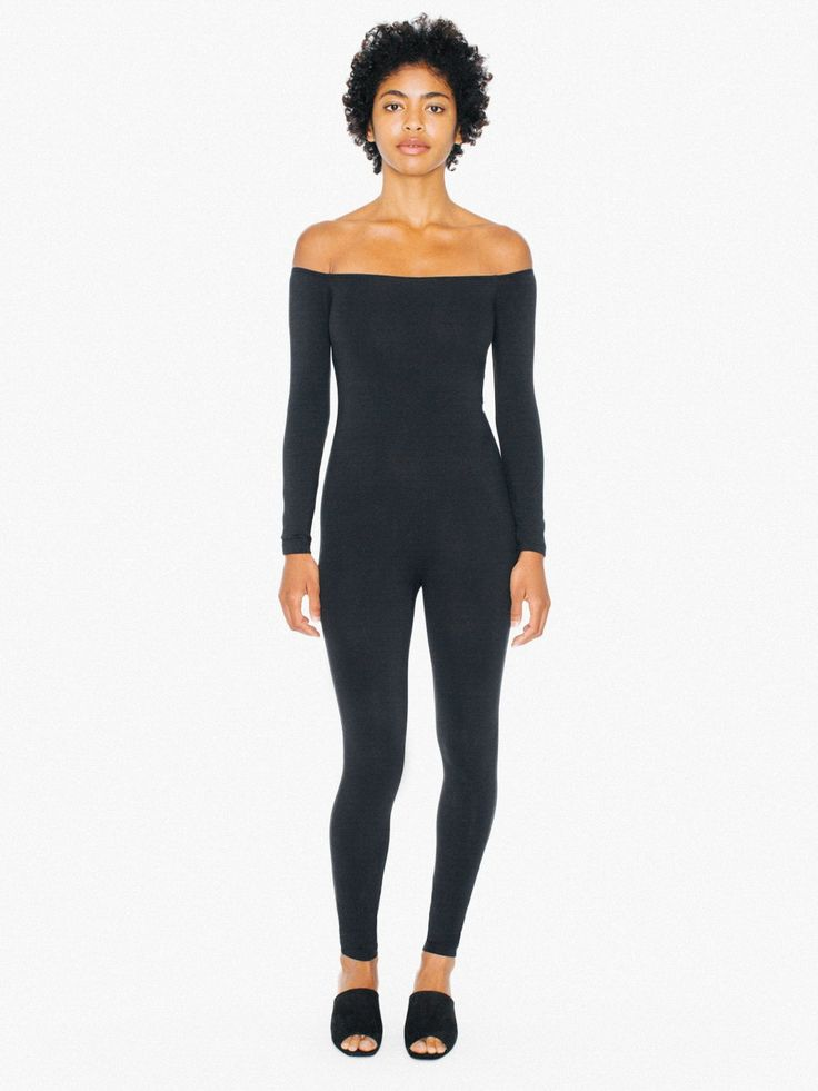 Cotton Spandex Off-Shoulder Long Sleeve Catsuit | American Apparel
