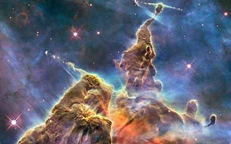 This NASA Hubble Space Telescope image captures the activity atop a three-light-year