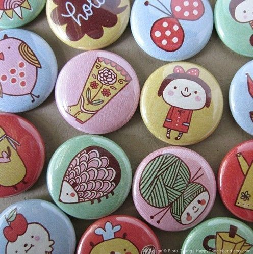Badges, flora chang | Happy Doodle Land #button #badge #pin #yarn #hedgehog