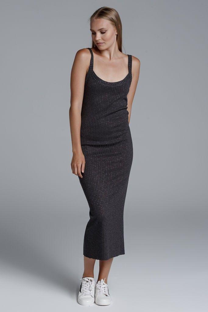 CKONTOVA ribbed sleeveless midi dress... Grey
