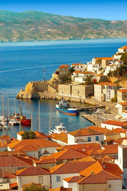 The historic port of Hydra,  Greek Saronic Islands #traveltoGReece.