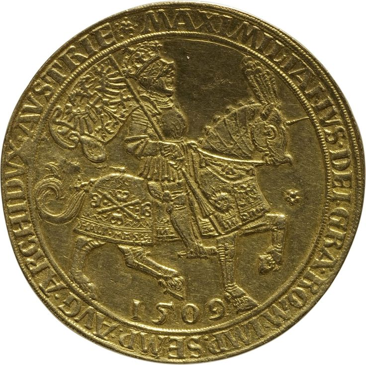 Maximilian I (r. 1486–1519): festive gold coin minted in Antwerp, 1509, 25 ducats (86,71 g), Inv.-No. 47bα, Ø 52,4 mm © KHM-Museumsverband