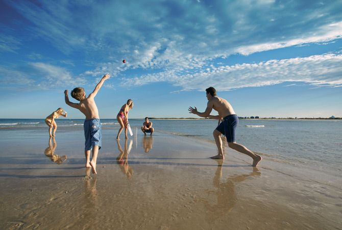 Beach Cricket at Caloundra. This is a great Australian summer past time anytime anywhere. Great fun!