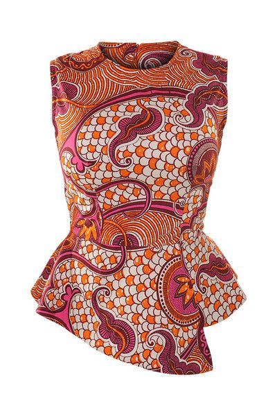 Retro Print Peplum Top African Clothes African Style Fashion. This would be a fun look to add to my wardrobe. Love the bold color and the asymmetrical peplum.