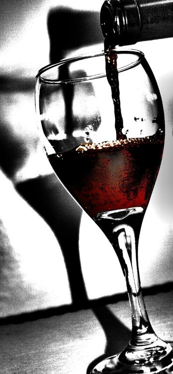 Pouring Red...Wine glass Photography #BandW & #cRed