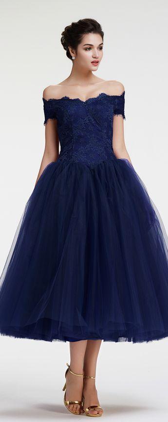 f4d3273b80ac Off the shoulder evening dresses tea length ball gown formal dresses  vintage evening gown cocktail dresses