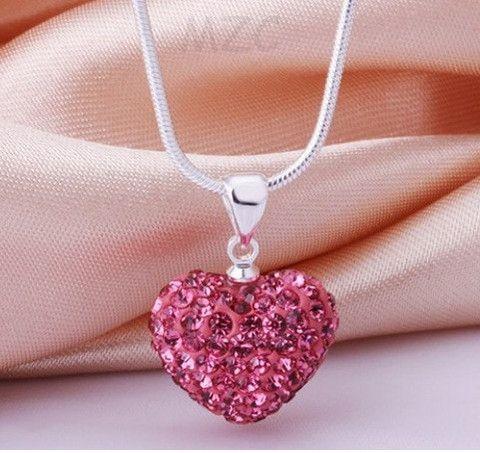 Infinity Shamballa Heart Necklace Pink