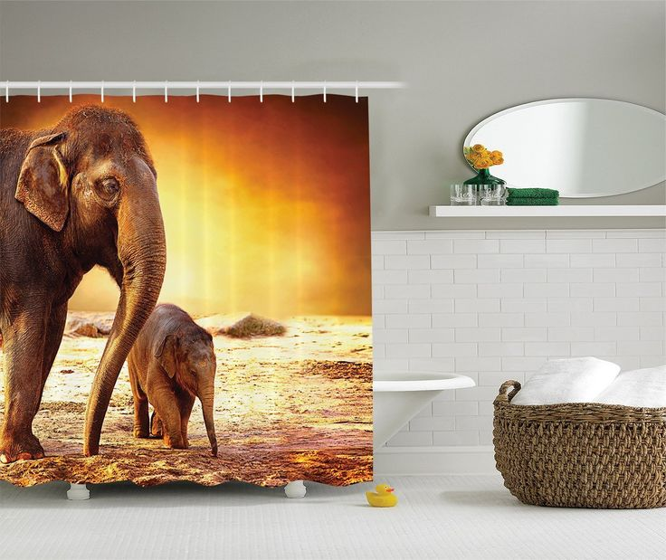 Zoo Decorations Shower Curtain Set By Ambesonne, Mother And Baby Elephant  Family In Kenya Landscape