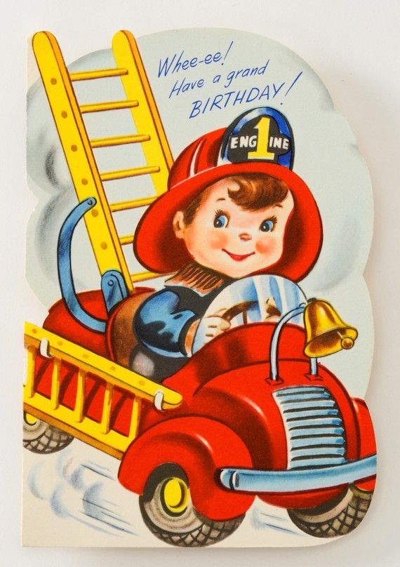 Fireman 1940s Unused Vintage Greeting Card