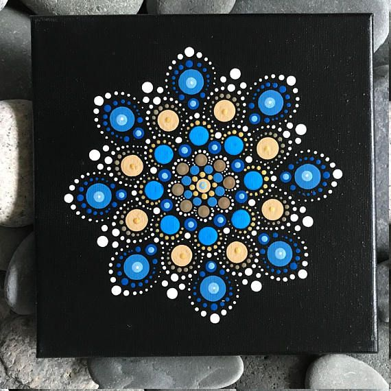 For sale is a hand-painted Mandala on a 8x8 canvas. Painted with high-quality acrylic paints, with a gloss acrylic finish for protection. Colors in this Mandala are Blue & Beige with Gold accents. Each one is hand made and no two are alike