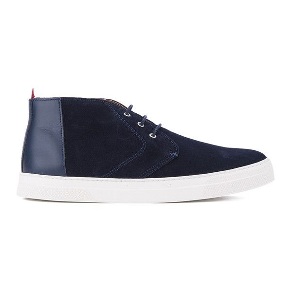 Oliver Spencer Men's Beat Chukka Boots - Navy Suede (£81) ❤ liked on Polyvore featuring men's fashion, men's shoes, men's boots, blue, mens blue shoes, mens slip on boots, mens navy boots, mens slip on shoes and mens chukka shoes
