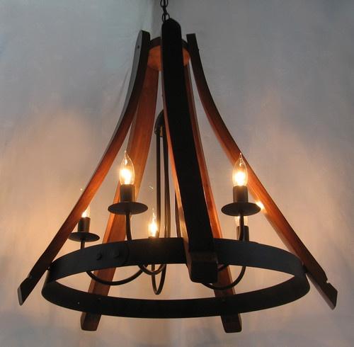 Cervantes Chandelier recycled oak wine barrel staves and hoop pendant light - mediterranean - chandeliers - other metro - Stil Novo Design
