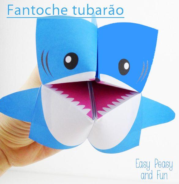 Fantoche tubarão de origami - Dobradura