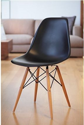 Black Eames Style Side Chair Eiffel Dining Room Chair, 4-Set